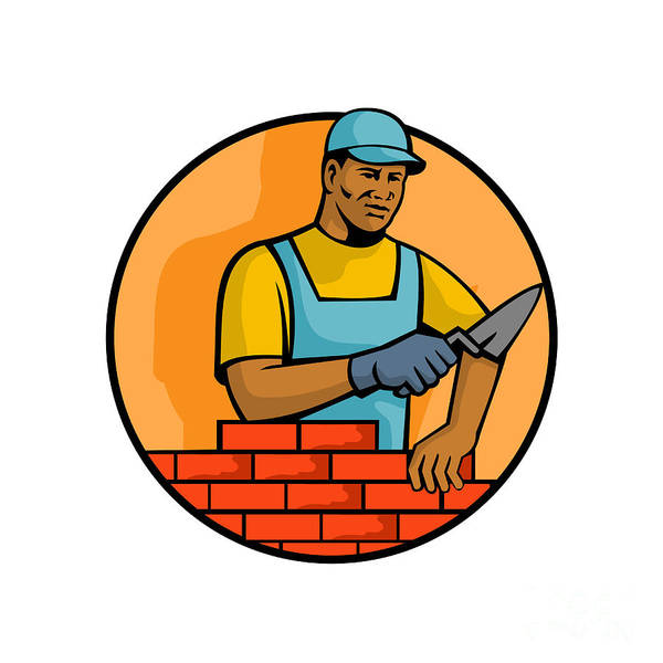 Wall Art - Digital Art - African American Bricklayer Mascot by Aloysius Patrimonio