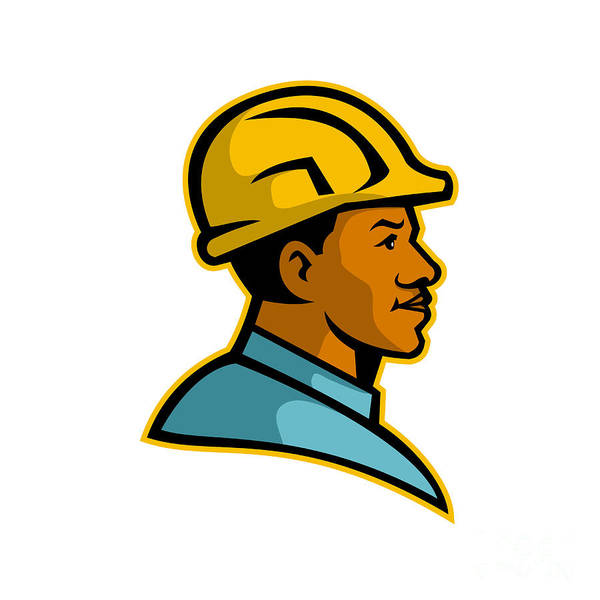 Wall Art - Digital Art - African American Construction Worker Mascot by Aloysius Patrimonio