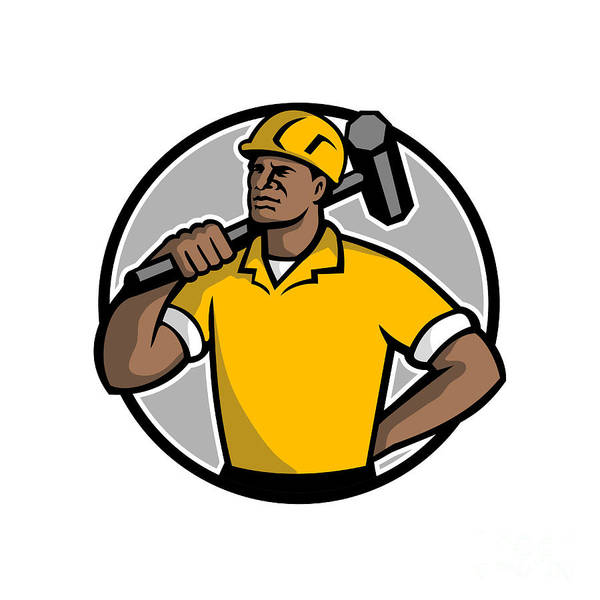 Wall Art - Digital Art - African American Demolition Worker Mascot by Aloysius Patrimonio