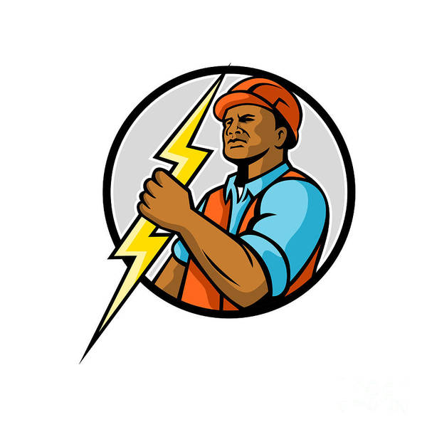Wall Art - Digital Art - African American Electrician Lightning Bolt Mascot by Aloysius Patrimonio