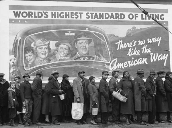 Disaster Photograph - African American Flood Victims Lined Up by Margaret Bourke-white
