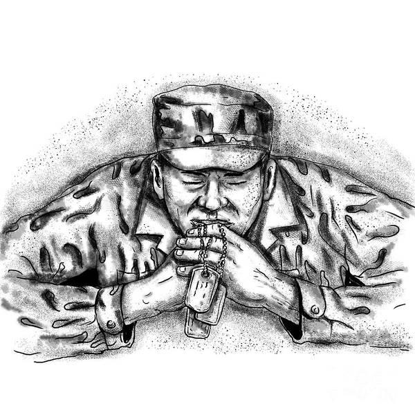Wall Art - Digital Art - African American Soldier Praying Tattoo by Aloysius Patrimonio