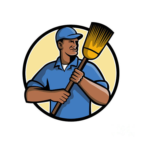 Wall Art - Digital Art - African American Street Sweeper Or Cleaner Mascot by Aloysius Patrimonio