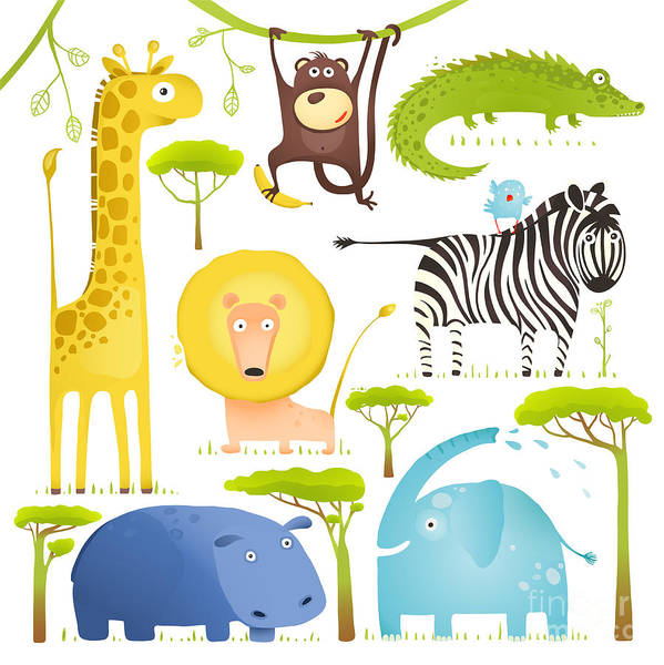 Quirky Wall Art - Digital Art - African Animals Fun Cartoon Clip Art by Popmarleo