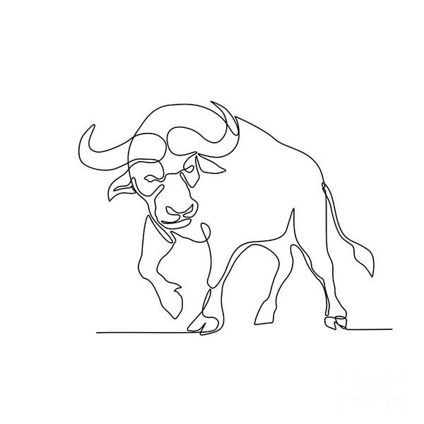 Wall Art - Digital Art - African Buffalo Continuous Line by Aloysius Patrimonio