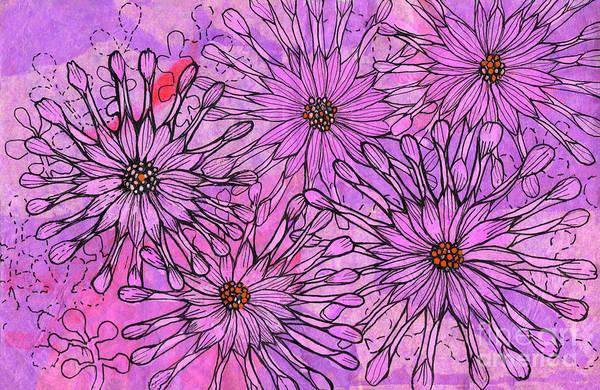 Osteospermum Mixed Media - African Daisy, Cape Daisies, Pink Flowers, Floral Art by Julia Khoroshikh