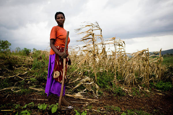 Real People Photograph - African Female Farmer With Hoe In Her by Simon Rawles