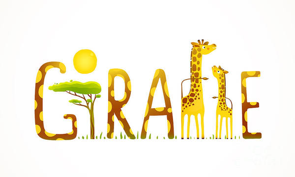 Quirky Wall Art - Digital Art - African Giraffe Animals Fun Lettering by Popmarleo