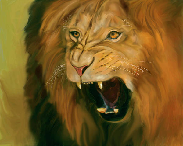 Digital Art - African Lion Ferocity by Mark Miller