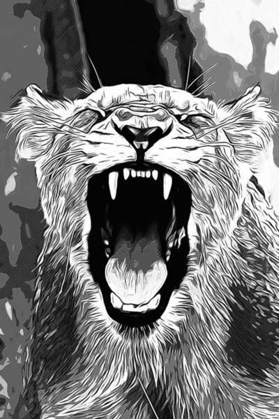 Wall Art - Digital Art - African Lioness Safari Cat V2 Va White by Gxp-Design