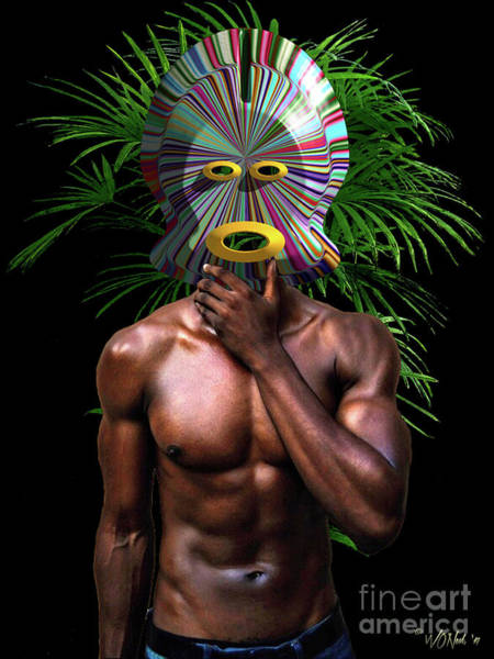 Digital Art - African Masked Man by Walter Neal