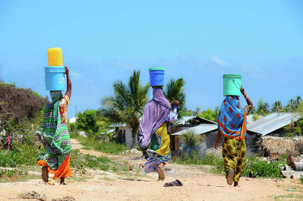 African Women Go To Fetch Water W Art Print by Volanthevist
