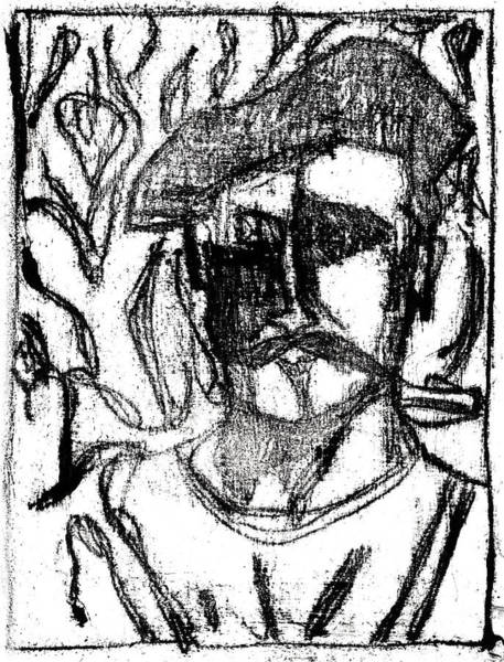 Drawing - After Billy Childish Black Oil Drawing B2-4 by Artist Dot