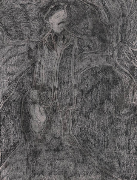 Drawing - After Billy Childish Pencil Drawing 10 by Artist Dot