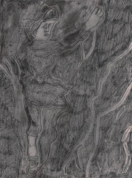 Drawing - After Billy Childish Pencil Drawing 11 by Artist Dot