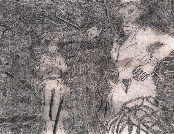 Drawing - After Billy Childish Pencil Drawing 13 by Artist Dot