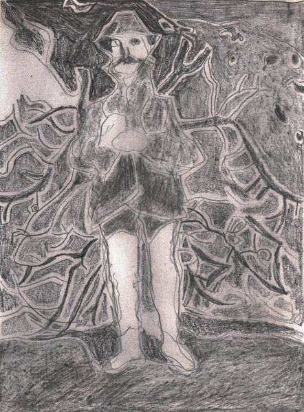 Drawing - After Billy Childish Pencil Drawing 22 by Artist Dot