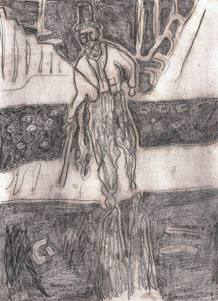 Drawing - After Billy Childish Pencil Drawing 24 by Artist Dot