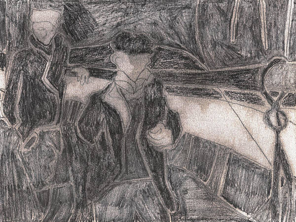 Drawing - After Billy Childish Pencil Drawing 27 by Artist Dot