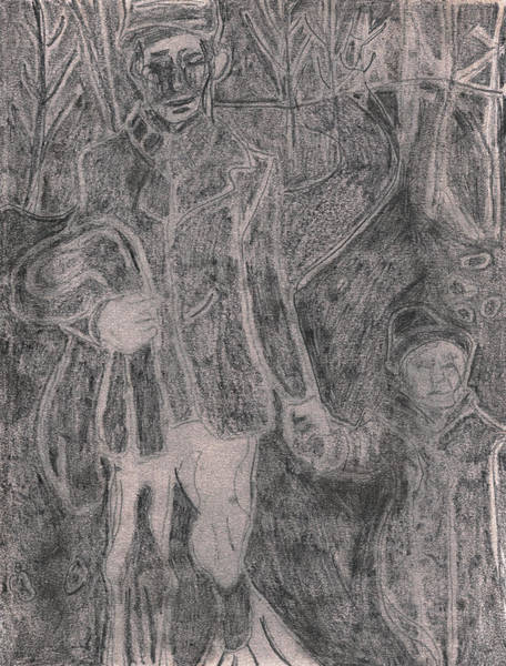 Drawing - After Billy Childish Pencil Drawing 35 by Artist Dot
