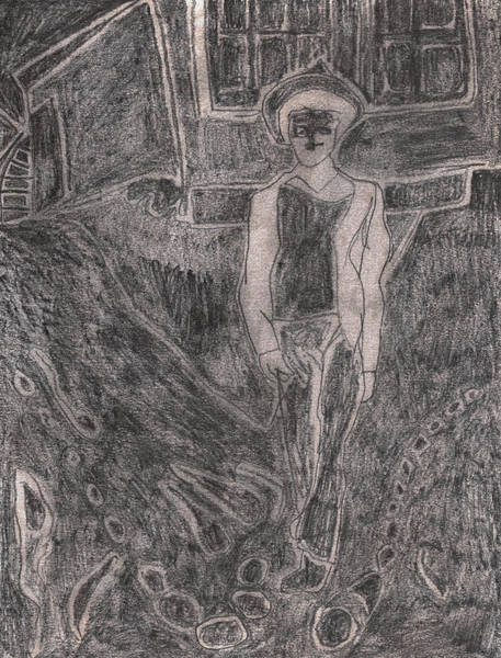 Drawing - After Billy Childish Pencil Drawing 37 by Artist Dot