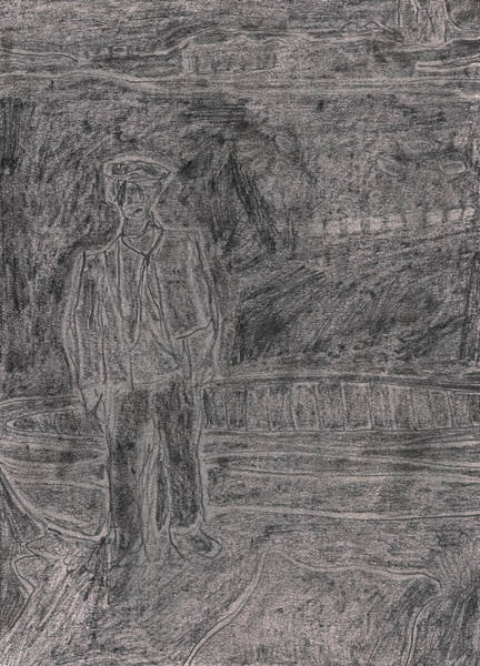 Drawing - After Billy Childish Pencil Drawing 39 by Artist Dot