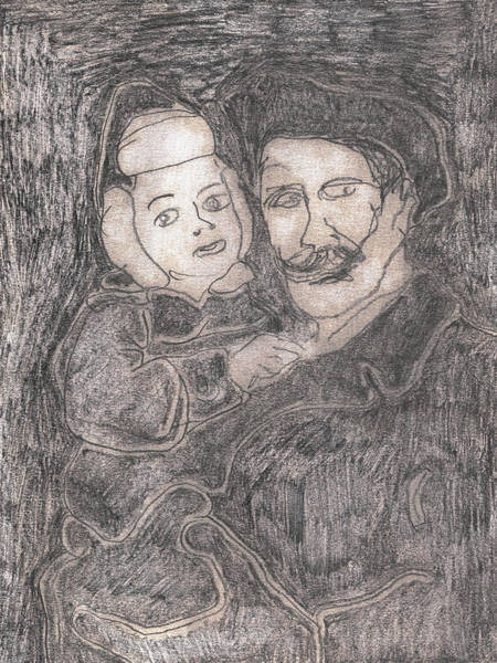 Drawing - After Billy Childish Pencil Drawing 42 by Artist Dot
