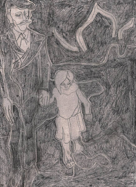 Drawing - After Billy Childish Pencil Drawing 43 by Artist Dot