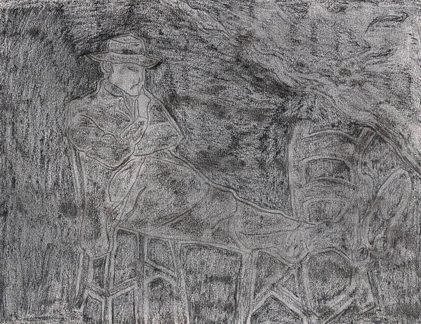 Drawing - After Billy Childish Pencil Drawing 5 by Artist Dot