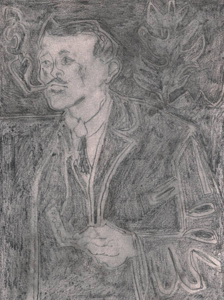Drawing - After Billy Childish Pencil Drawing 9 by Artist Dot
