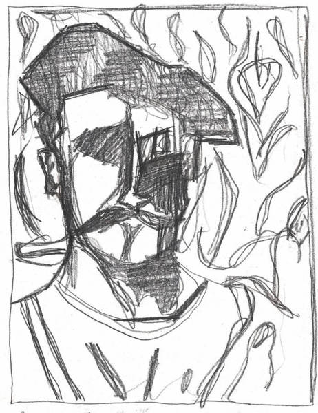 Drawing - After Billy Childish Pencil Drawing B2-4 by Artist Dot