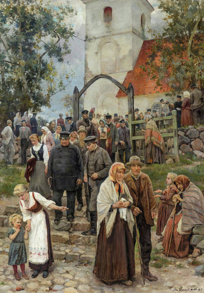 Wall Art - Painting - After Church, 1894 by Janis Rozentals