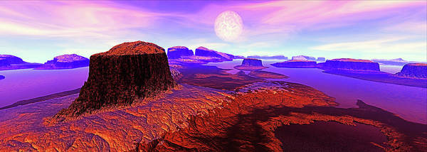 Rocky Mountain Digital Art - After Dawn, Panorama. Digitally by Raj Kamal