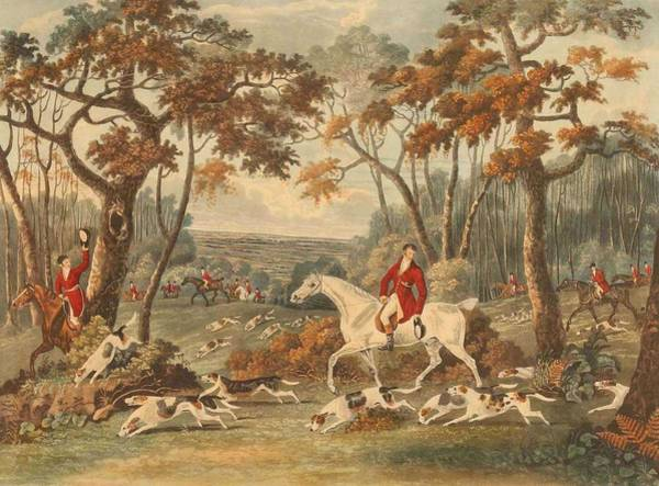 Wall Art - Painting - After Dean Wolstenholme The Elder   1757-1837    Fox-hunting   by Celestial Images
