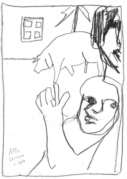 Drawing - After Mikhail Larionov Pencil Drawing 11 by Artist Dot