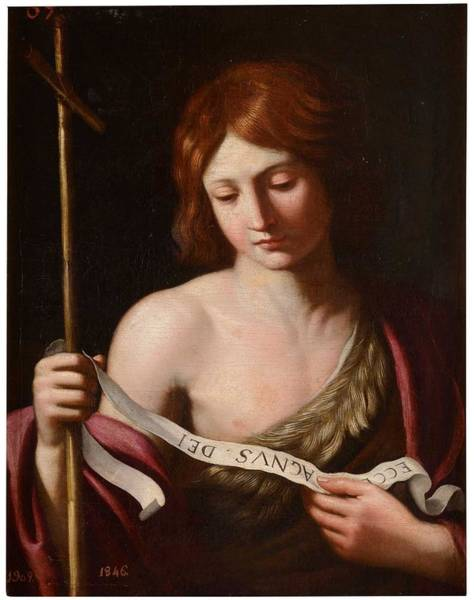 Wall Art - Painting - After Reni, Guido  Saint John The Baptist Early Xvii by Celestial Images