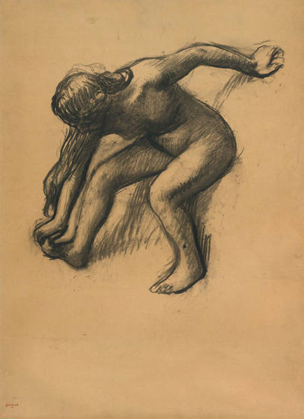 Wall Art - Drawing - After The Bath, Circa 1900 by Edgar Degas