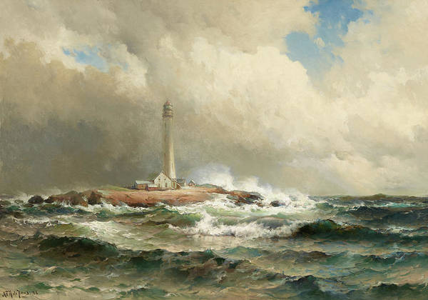 Wall Art - Painting - After The Gale, Boone Island Light House, Maine by Mauritz de Haas