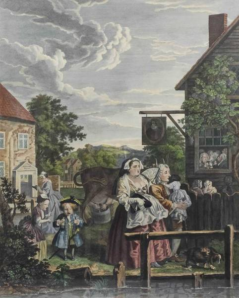 Wall Art - Painting - After William Hogarth  1697-1764  Noon by Celestial Images