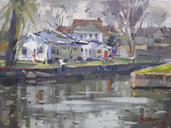 Lake House Painting - Afternoon At La Salle Park by Ylli Haruni