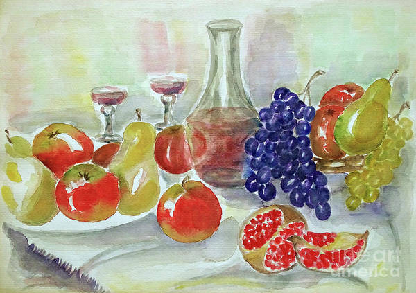Wall Art - Painting - Afternoon With Fruit  by Jasna Dragun