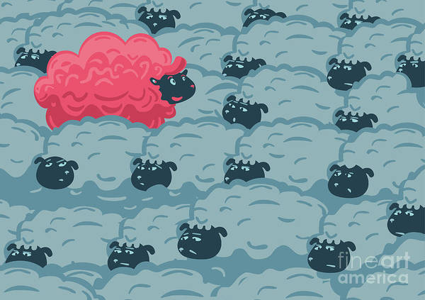 Against The Crowd. One Pink Sheep In Art Print