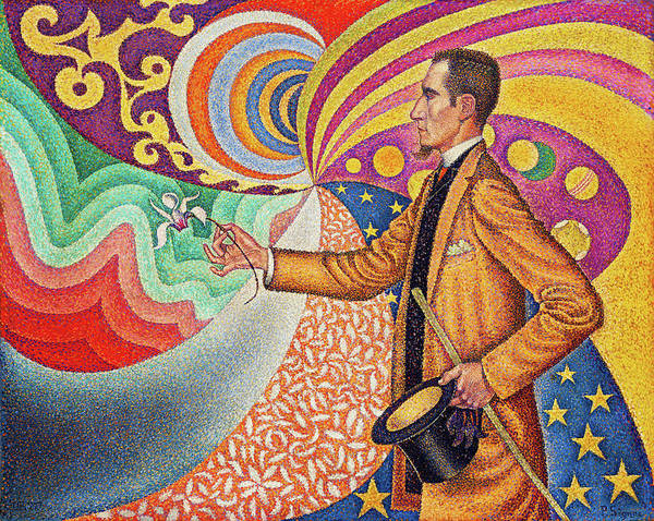 Neo-impressionism Wall Art - Painting - Against The Enamel Of A Background Rhythmic With Beats And Angles, Tones, And Tints by Paul Signac