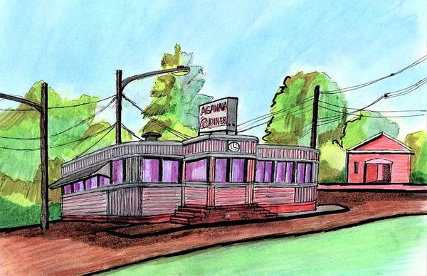 Wall Art - Drawing - Agawam Diner by Paul Meinerth