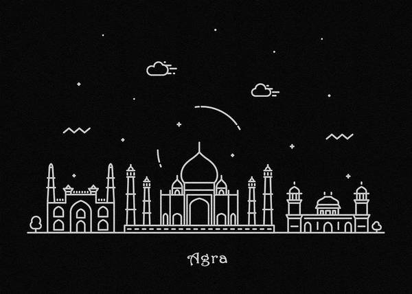 India Drawing - Agra Skyline Travel Poster by Inspirowl Design
