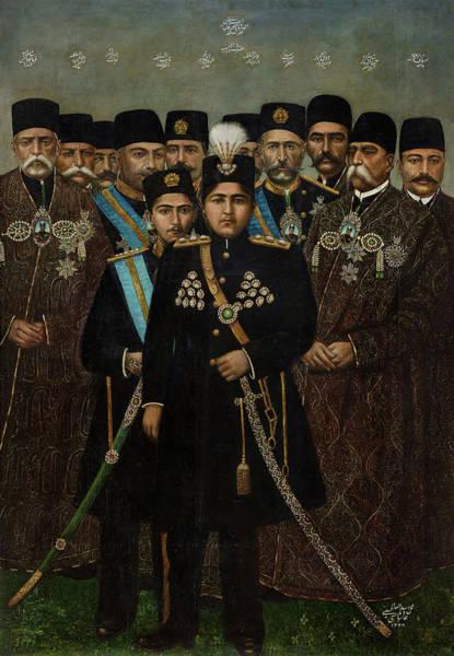 Wall Art - Painting - Ahmad Shah Qajar And His Cabinet Signed By Assadullah Al-husayni Naqqash-bashi by Arthur M Sackler