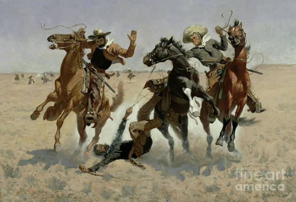 Accident Painting - Aiding A Comrade, Past All Surgery by Frederic Remington