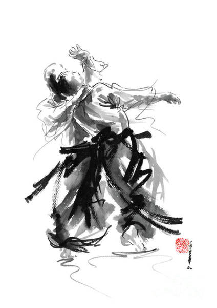 Wall Art - Painting - Aikido Art Bushido Poster Japanese Painting Sumi-e Matrial Arts Print by Mariusz Szmerdt