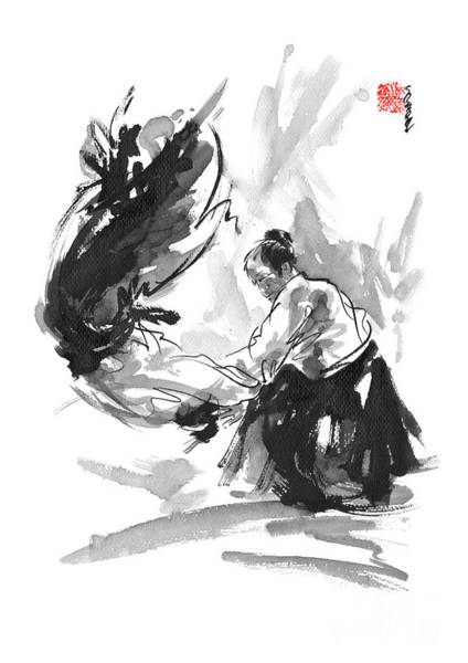Wall Art - Painting - Aikido Poster Japanese Matrial Arts Mens Gift Calligraphy Painting by Mariusz Szmerdt
