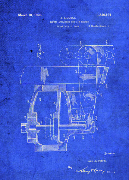 Patent Mixed Media - Air Brakes Safety Patent Drawing Blueprints by Design Turnpike